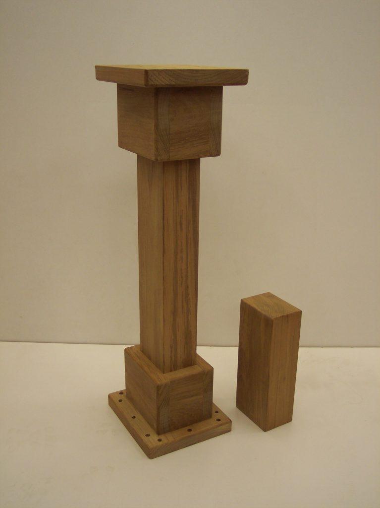 Carved teak boat table pedestal