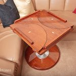 Teak boat table with leaves folded