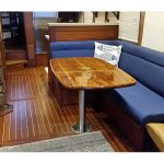 Teak boat table with fixed pedestal