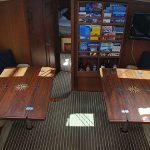 Twin folding teak yacht tables