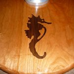 Seahorse teak inlay for boat table pedestal