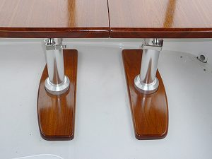 Teak yacht table with twin pneumatic pedestals