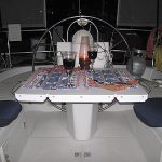Starboard plastic cockpit table in use