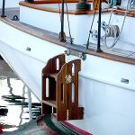 Four-step teak sailboat ladder