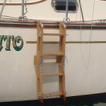 Four-step teak boat ladder unfolded