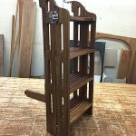 Eight-step teak boat ladder folded