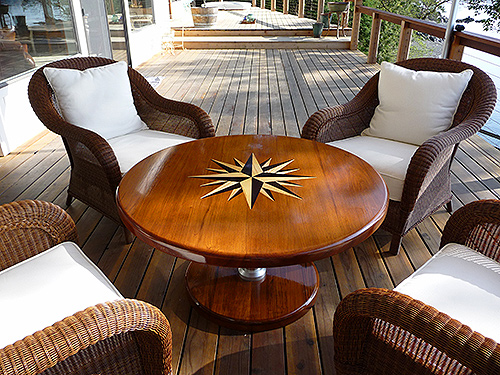 Teak And Plastic Cockpit Tables For Sailboats